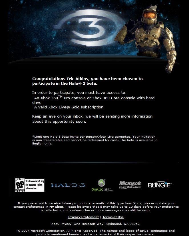 Halo 3 Beta Invite